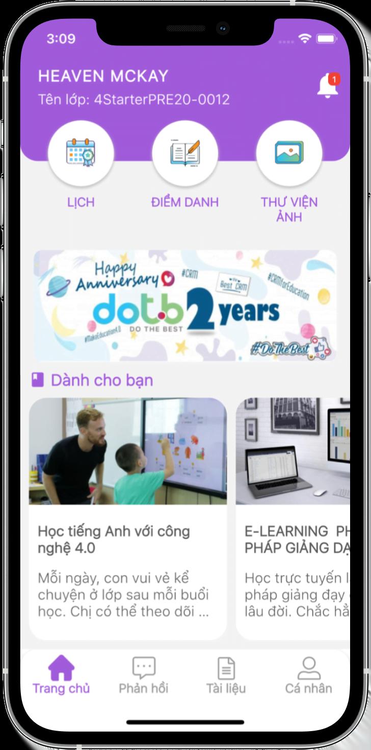 ứng dụng quản lý giảng dạy DotB Tea